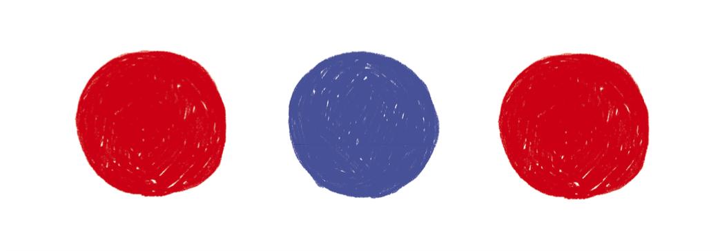3 koła czerwone niebieskie